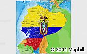 Flag 3D Map of Ecuador, political outside