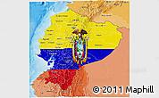 Flag 3D Map of Ecuador, political shades outside