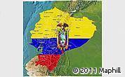 Flag 3D Map of Ecuador, satellite outside