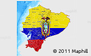 Flag 3D Map of Ecuador, single color outside, bathymetry sea