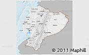 Gray 3D Map of Ecuador, single color outside
