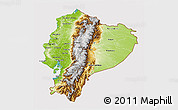 Physical 3D Map of Ecuador, cropped outside