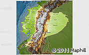 Physical 3D Map of Ecuador, darken
