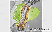 Physical 3D Map of Ecuador, desaturated