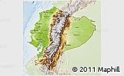 Physical 3D Map of Ecuador, lighten
