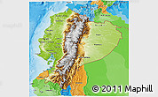 Physical 3D Map of Ecuador, political outside, shaded relief sea