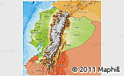 Physical 3D Map of Ecuador, political shades outside, shaded relief sea