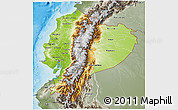 Physical 3D Map of Ecuador, semi-desaturated, land only
