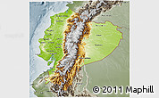 Physical 3D Map of Ecuador, semi-desaturated