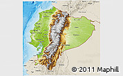 Physical 3D Map of Ecuador, shaded relief outside