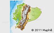 Physical 3D Map of Ecuador, single color outside