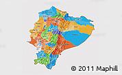 Political 3D Map of Ecuador, cropped outside