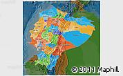 Political 3D Map of Ecuador, darken