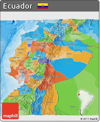 Free Political 3D Map of Ecuador