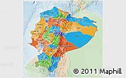 Political 3D Map of Ecuador, lighten