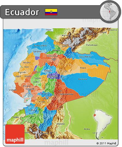 Free Political 3D Map of Ecuador physical outside