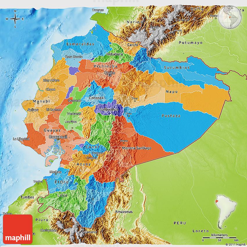 Political 3d Map Of Ecuador Physical Outside