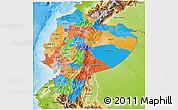 Political 3D Map of Ecuador, physical outside
