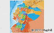 Political 3D Map of Ecuador, political shades outside