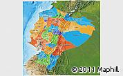 Political 3D Map of Ecuador, satellite outside, bathymetry sea