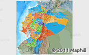 Political 3D Map of Ecuador, semi-desaturated, land only