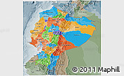 Political 3D Map of Ecuador, semi-desaturated