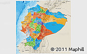 Political 3D Map of Ecuador, shaded relief outside, bathymetry sea