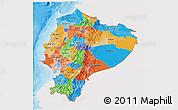 Political 3D Map of Ecuador, single color outside