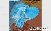 Political Shades 3D Map of Ecuador, darken