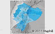 Political Shades 3D Map of Ecuador, desaturated