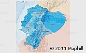 Political Shades 3D Map of Ecuador, lighten