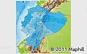 Political Shades 3D Map of Ecuador, physical outside