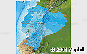 Political Shades 3D Map of Ecuador, satellite outside, bathymetry sea