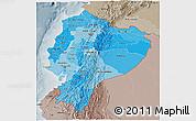 Political Shades 3D Map of Ecuador, semi-desaturated
