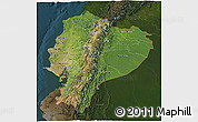Satellite 3D Map of Ecuador, darken