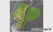 Satellite 3D Map of Ecuador, desaturated