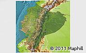 Satellite 3D Map of Ecuador, physical outside, satellite sea