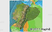 Satellite 3D Map of Ecuador, political outside, satellite sea