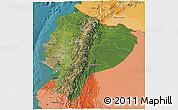 Satellite 3D Map of Ecuador, political shades outside, satellite sea