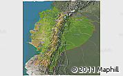 Satellite 3D Map of Ecuador, semi-desaturated, land only