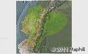 Satellite 3D Map of Ecuador, semi-desaturated
