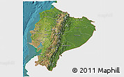 Satellite 3D Map of Ecuador, single color outside