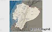 Shaded Relief 3D Map of Ecuador, darken