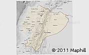 Shaded Relief 3D Map of Ecuador, desaturated
