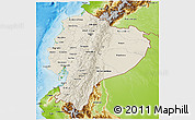 Shaded Relief 3D Map of Ecuador, physical outside