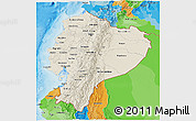 Shaded Relief 3D Map of Ecuador, political outside, shaded relief sea