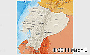 Shaded Relief 3D Map of Ecuador, political shades outside, shaded relief sea
