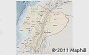 Shaded Relief 3D Map of Ecuador, semi-desaturated