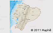 Shaded Relief 3D Map of Ecuador, single color outside