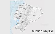 Silver Style 3D Map of Ecuador, single color outside